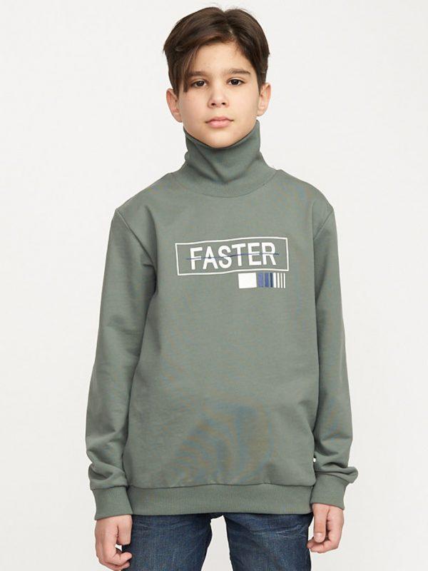 Chlapecká mikina-rolák Faster Khaki