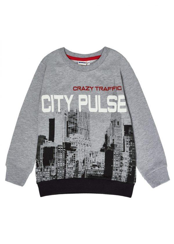 Chlapecká mikina City Pulse Šedý melanž