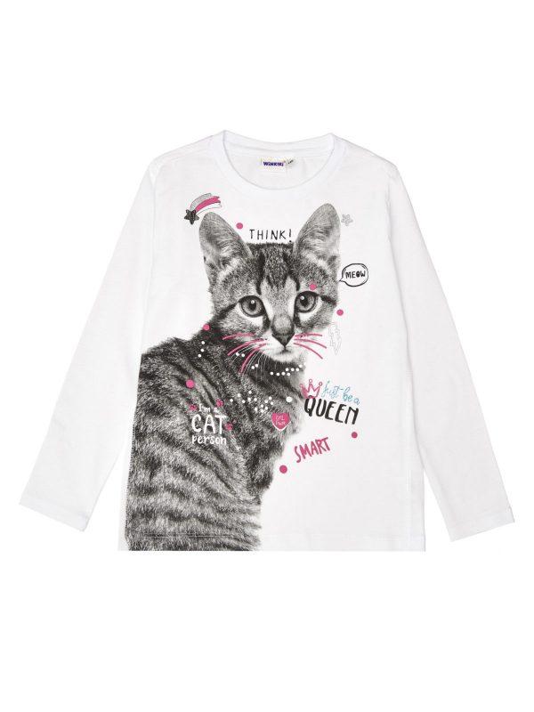 Dívčí tričko Cat Bílá