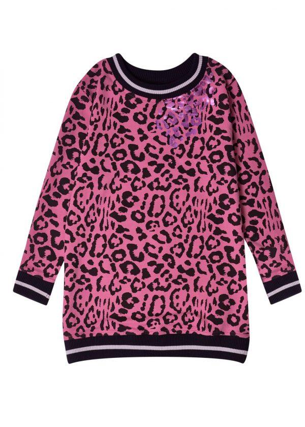 Dívčí šaty Leopard Růžová