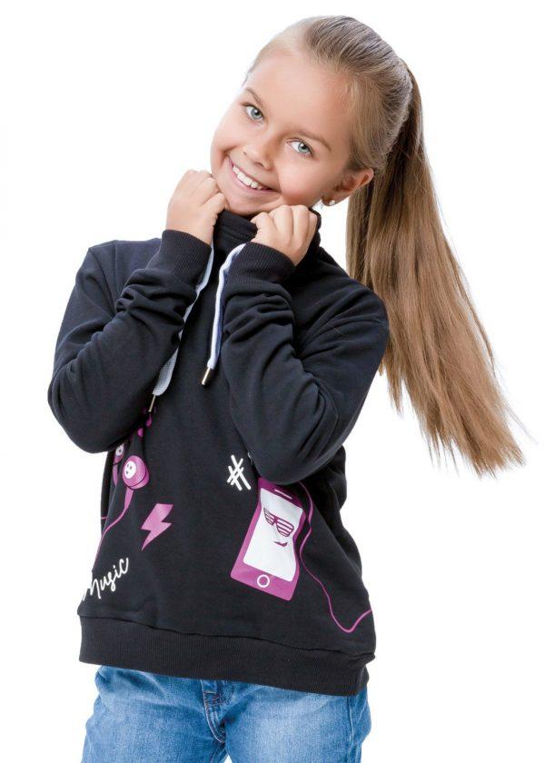 Dívčí mikina Music Černá