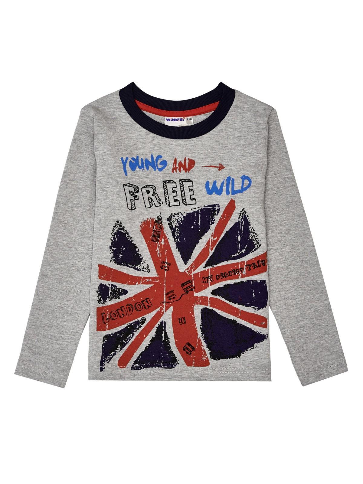 Tričko s dlouhým rukávem Free Wild Šedý melanž