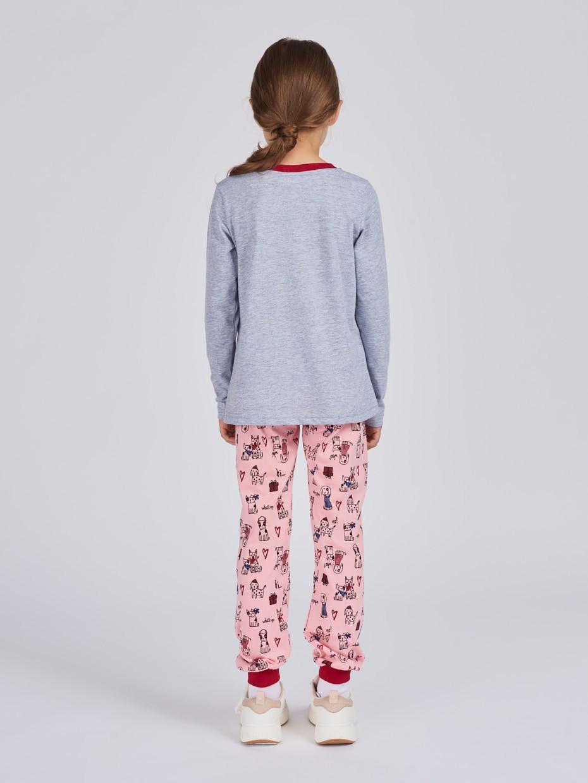 Dívčí pyžamo Good Time Šedý melanž/Růžová
