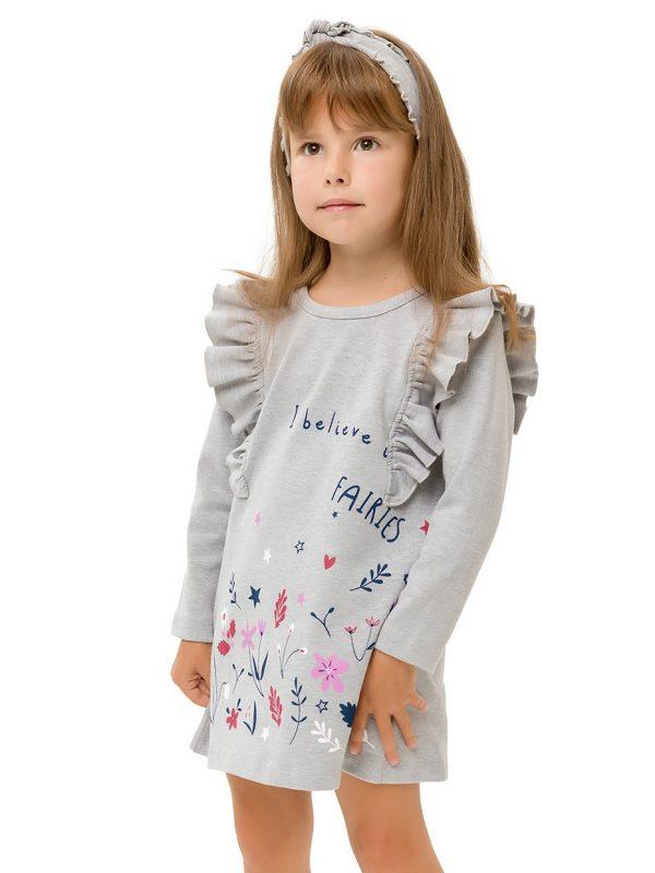 Dívčí šaty Fairies Šedý melanž
