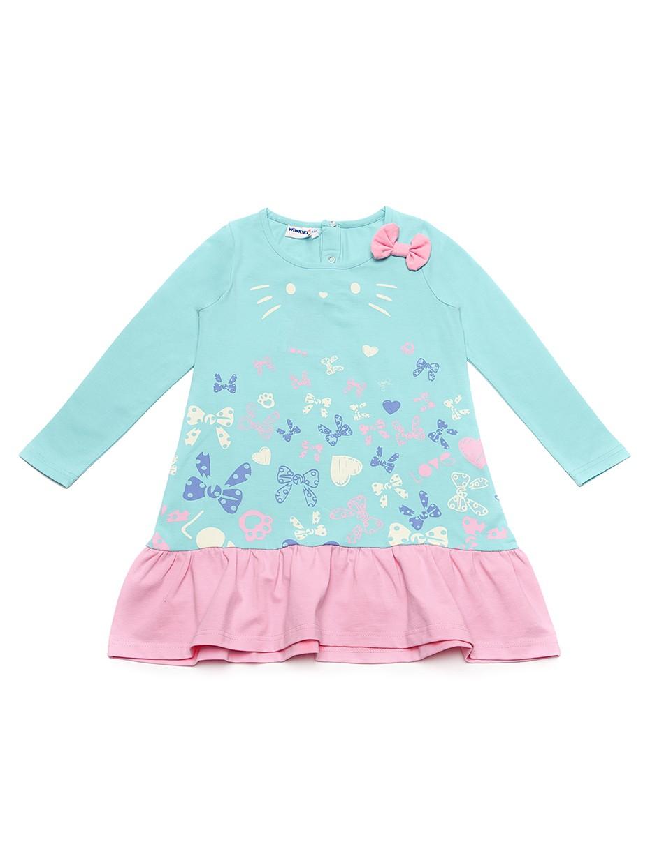 Dívčí šaty Motýlci Mátová/Růžová