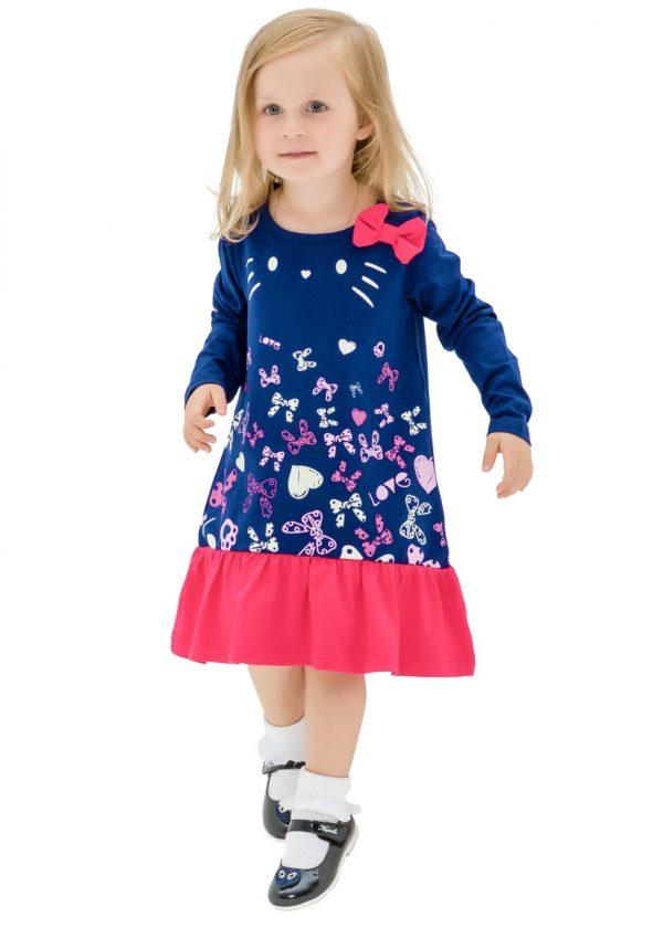 Dívčí šaty Motýlci Navy/Malinová