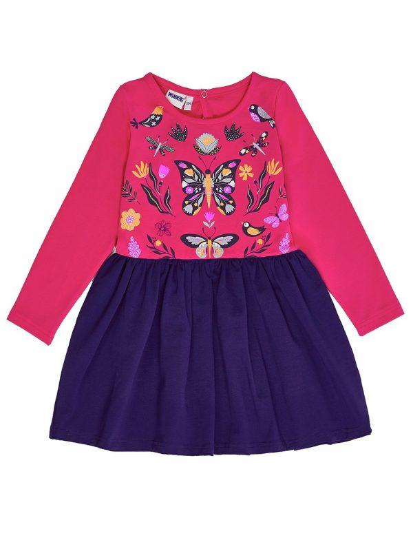 Dívčí šaty Butterfly Malinová/Navy