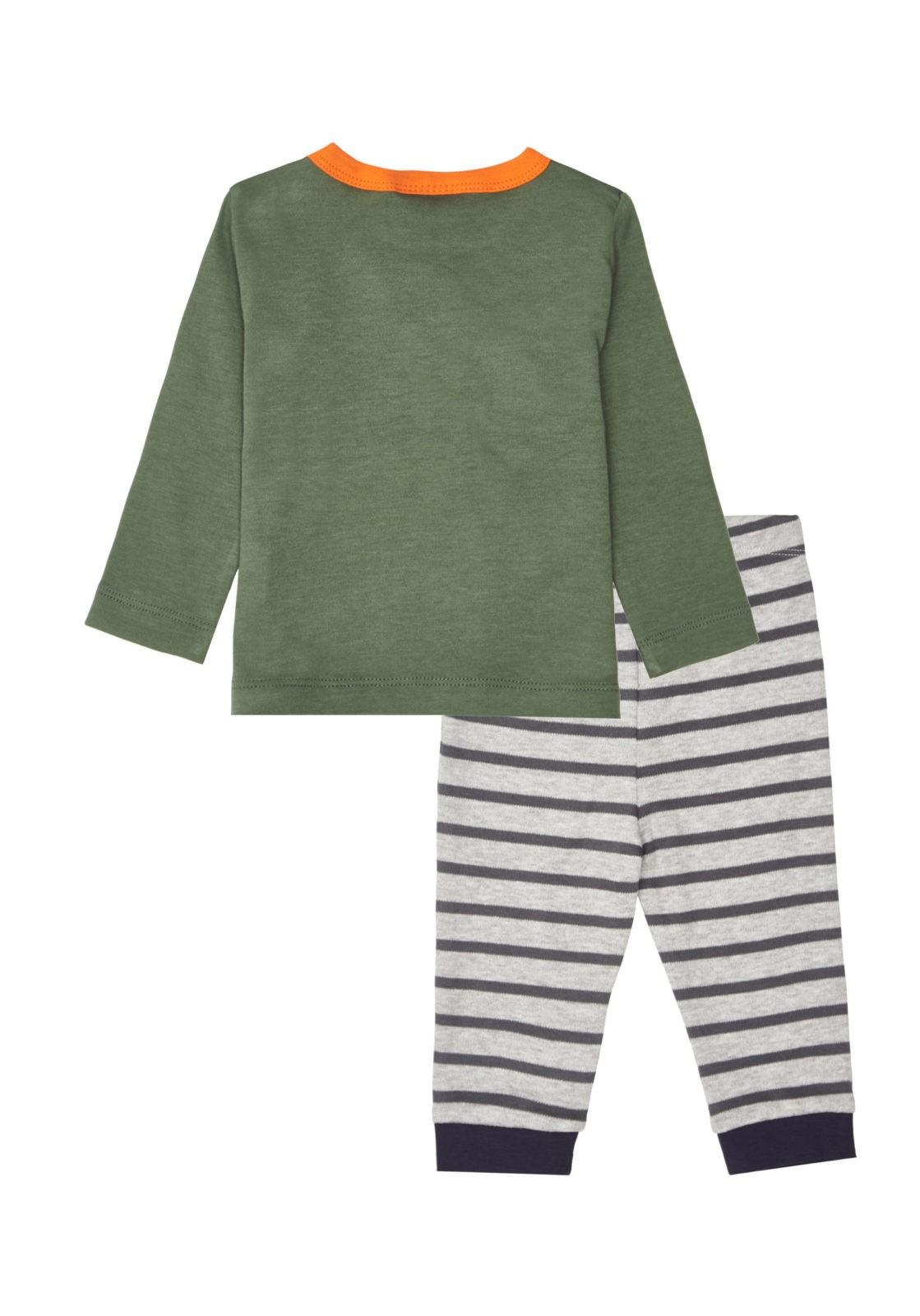 Chlapecké pyžamo Mýval Khaki/Šedý melanž - pruhy