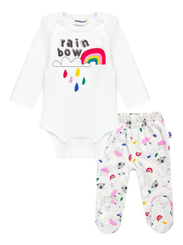 Dívčí body s tepláčkami Rainbow Bílá/Šedý melanž