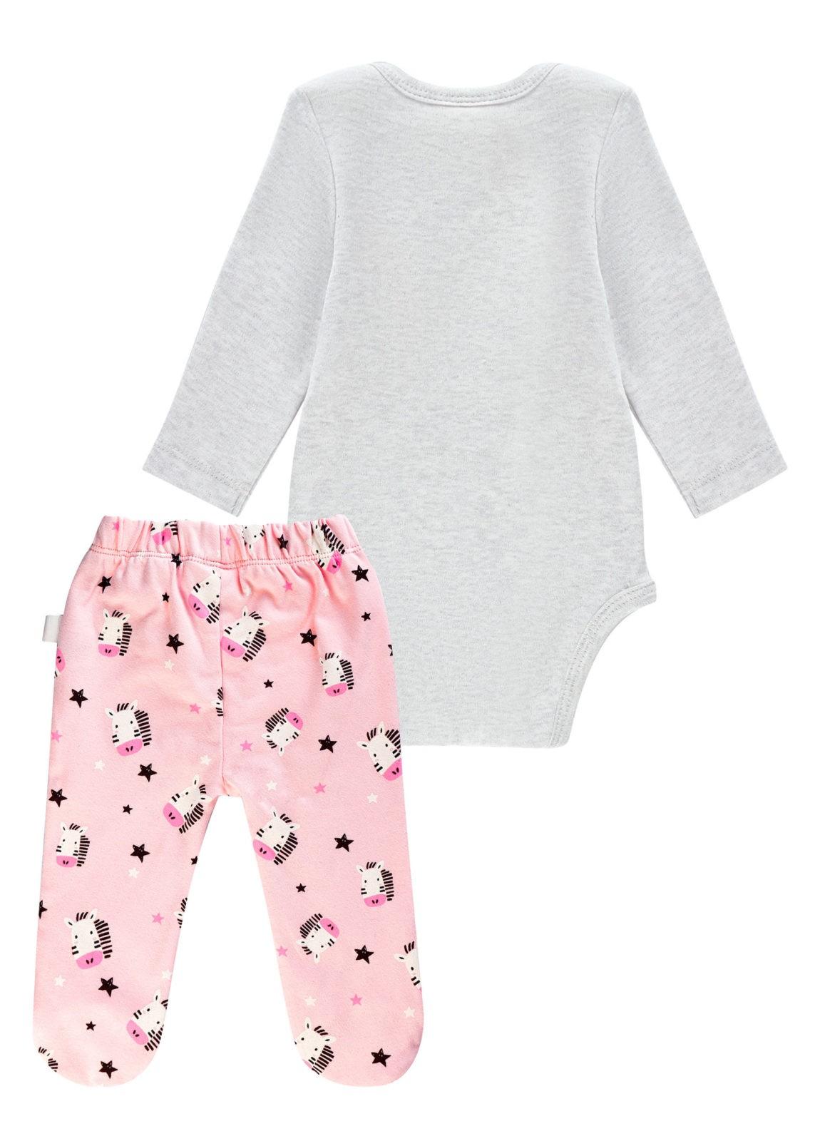 Dívčí body s tepláčkami Black & White Šedý melanž/Růžová