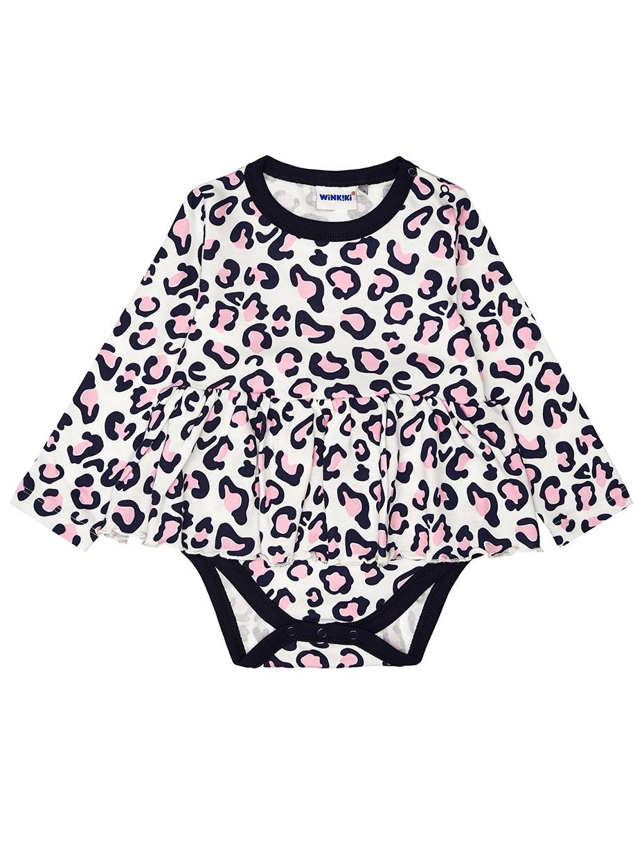 Dívčí body Leopard se sukýnkou Mléčně bílá