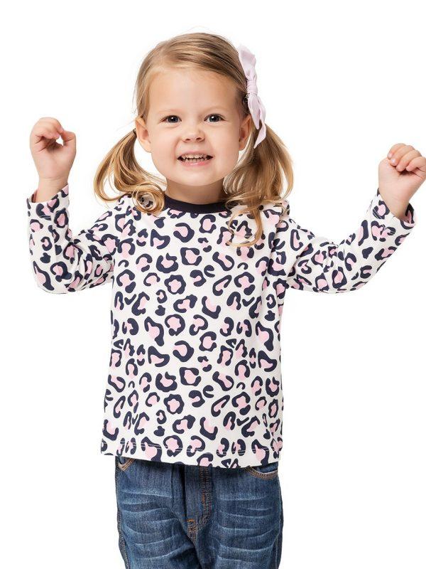 Dívčí tričko Leopard Mléčně bílá