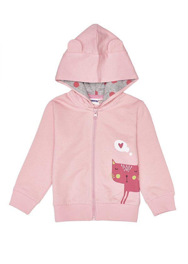 Dívčí mikina s kapucí Cat Růžová