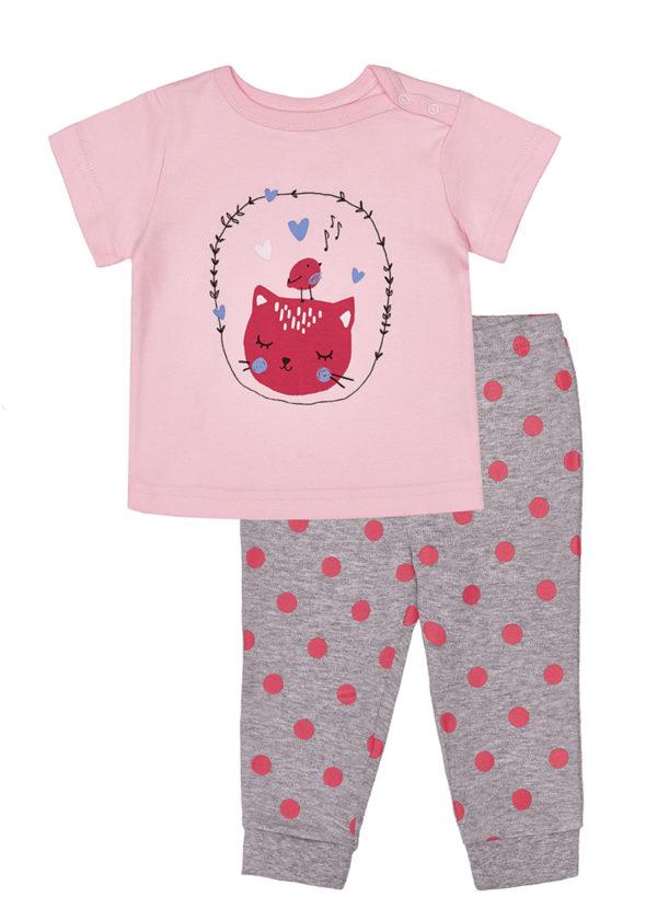 Dívčí pyžamo Cat Růžová/Šedý melanž