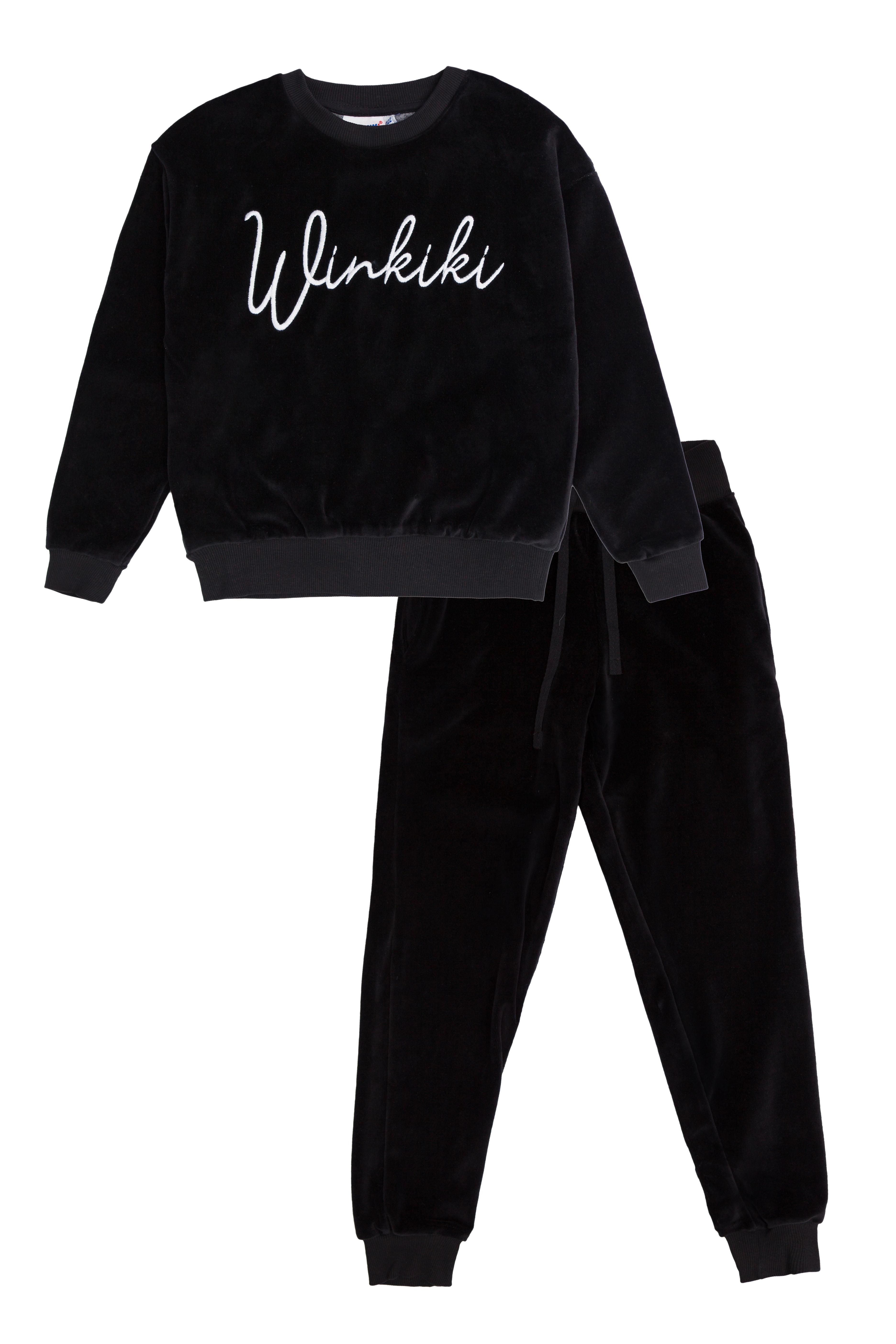 Winkiki velurový set - černý Černá