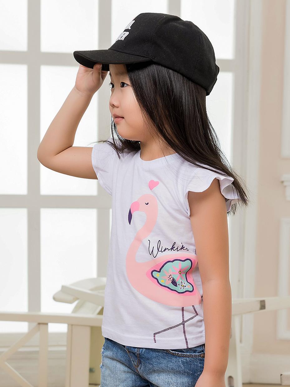 Dívčí tričko Flamingo Bílá
