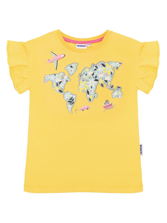 Dívčí tričko World - žluté Žlutá
