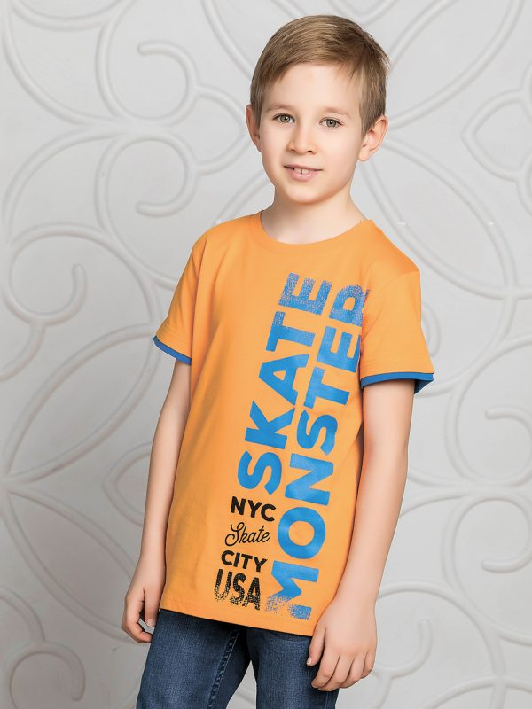 Chlapecké tričko Skate Monster - oranžová Oranžová, Tmavě modrá