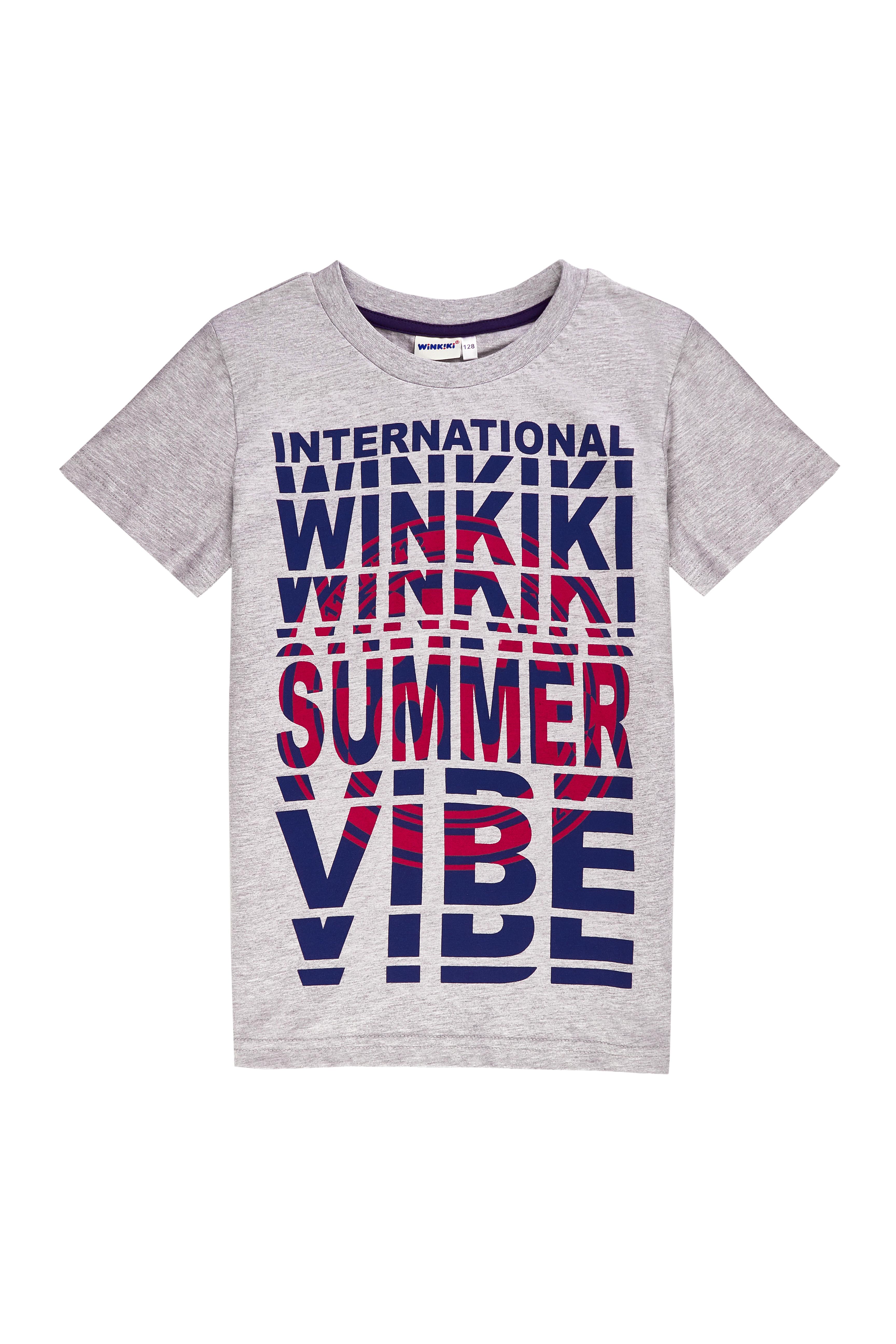Chlapecké tričko Summer Vibe - šedá Červená, Navy, Šedý melanž