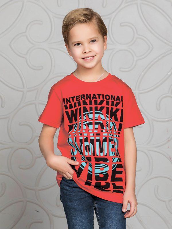 Chlapecké tričko Summer Vibe - červená Červená, Navy, Šedý melanž