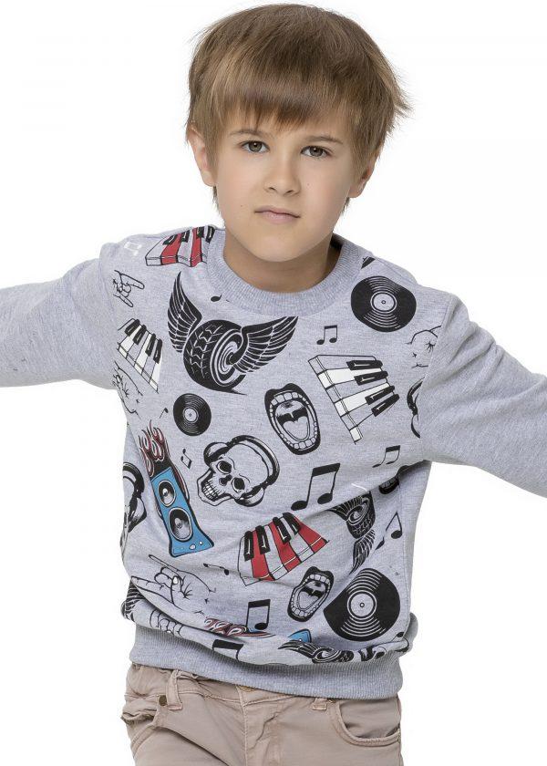 Chlapecká mikina Music Šedý melanž