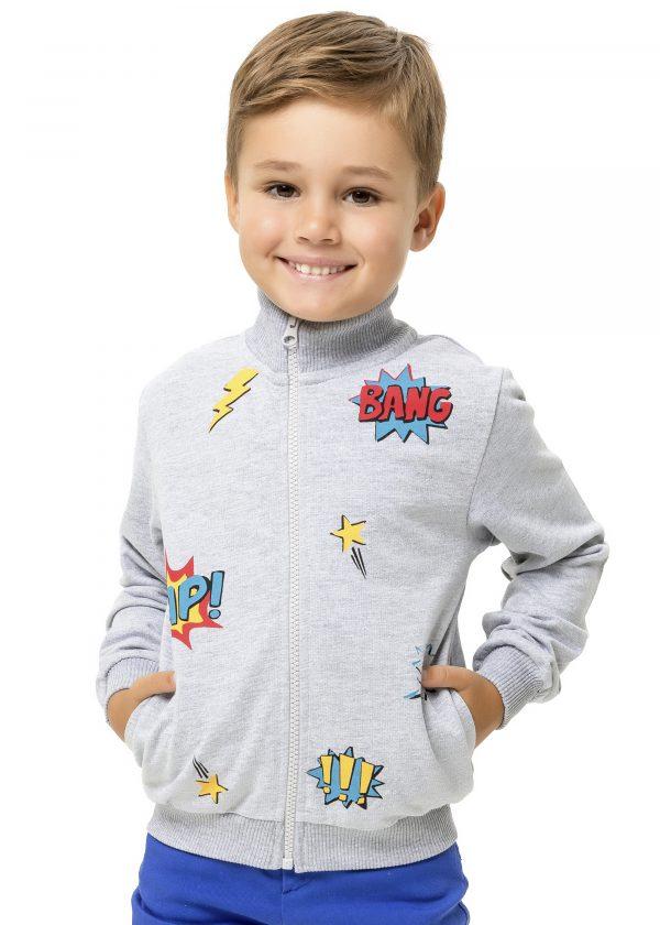 Chlapecká mikina Bang Zap - šedá Navy, Šedý melanž