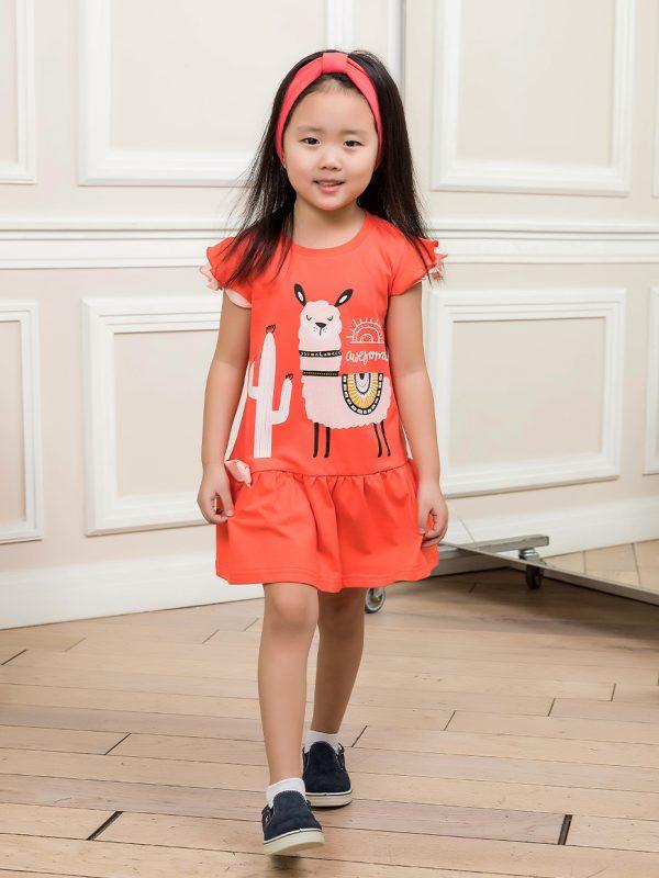 Dívčí šaty Lama Korálová