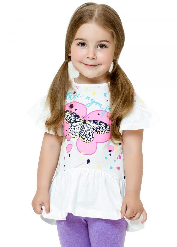 Elegantní dívčí tričko Tree Nymph - bílá Bílá, Malinová, Žlutá