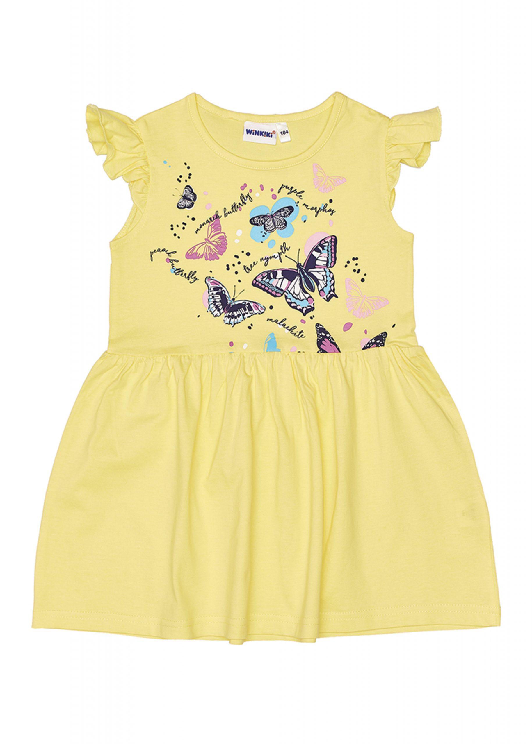 Dívčí šaty Motýlci - žlutá Žlutá