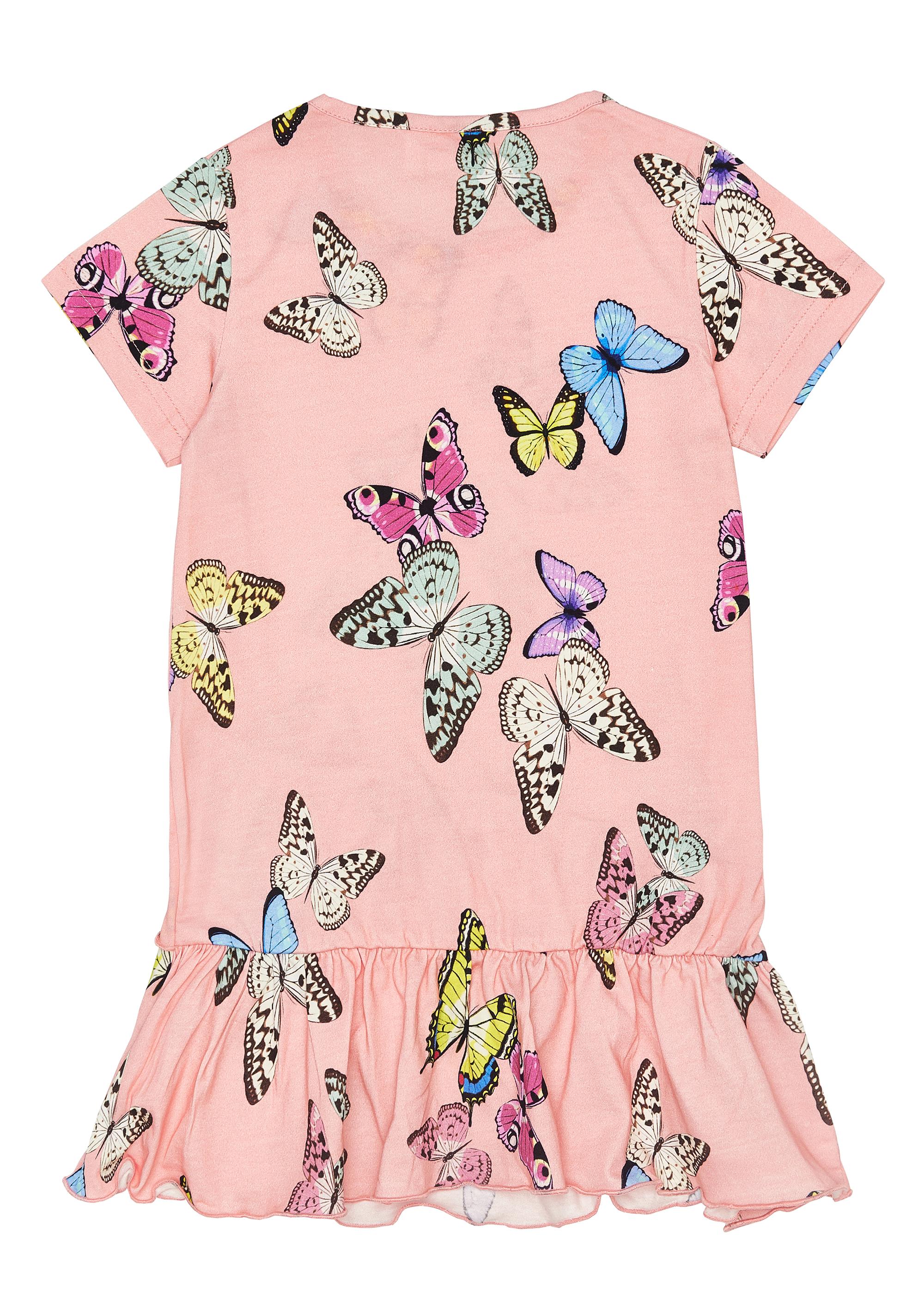 Dívčí šaty Motýlci - růžová Růžová