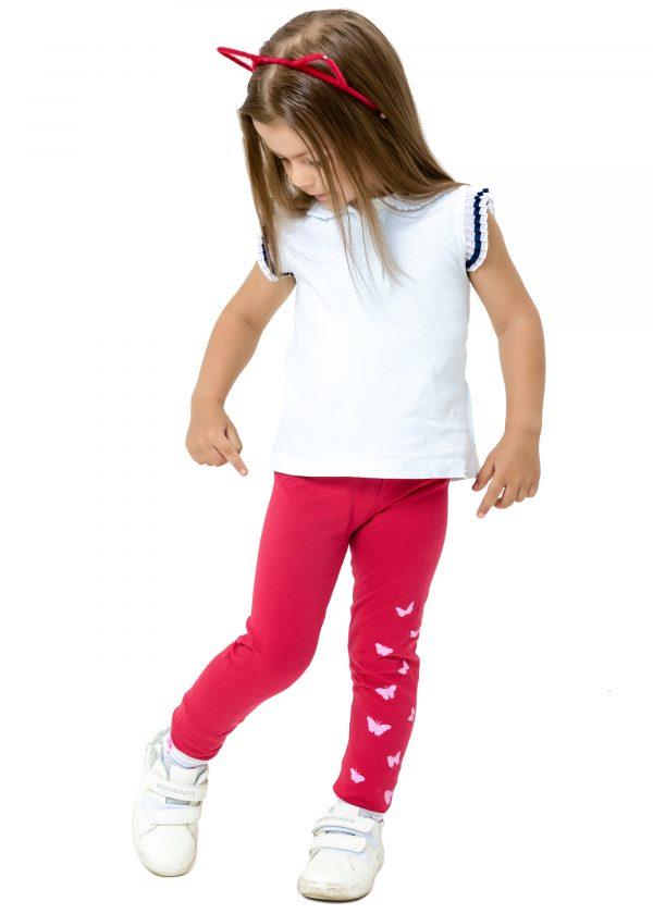 Dívčí legginy Butterfly - červená Bílá, Malinová, Navy