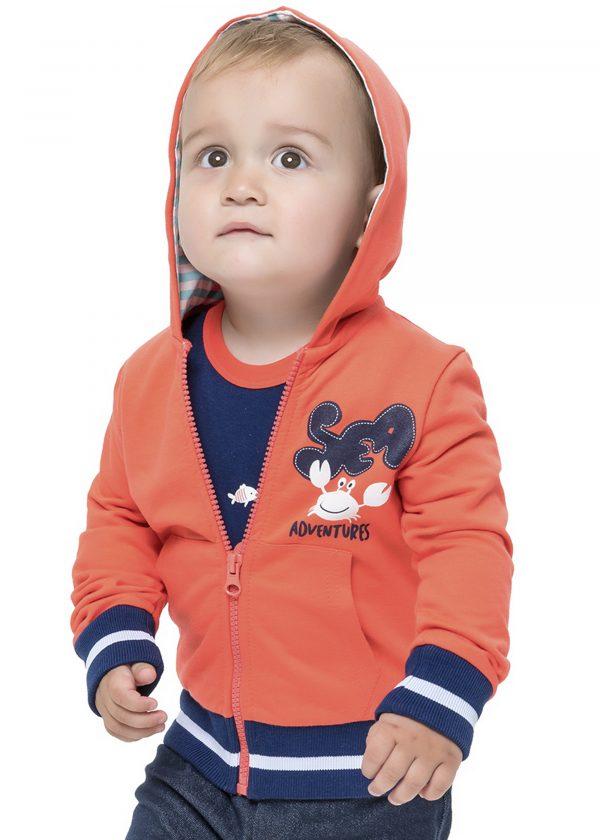 Chlapecká mikinka s kapucí na ZIP Adventures Červená