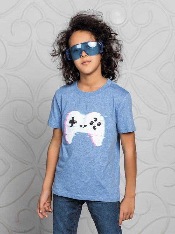 Chlapecké tričko American Gamer - modrý melanž Černá, Khaki, Modrý melanž