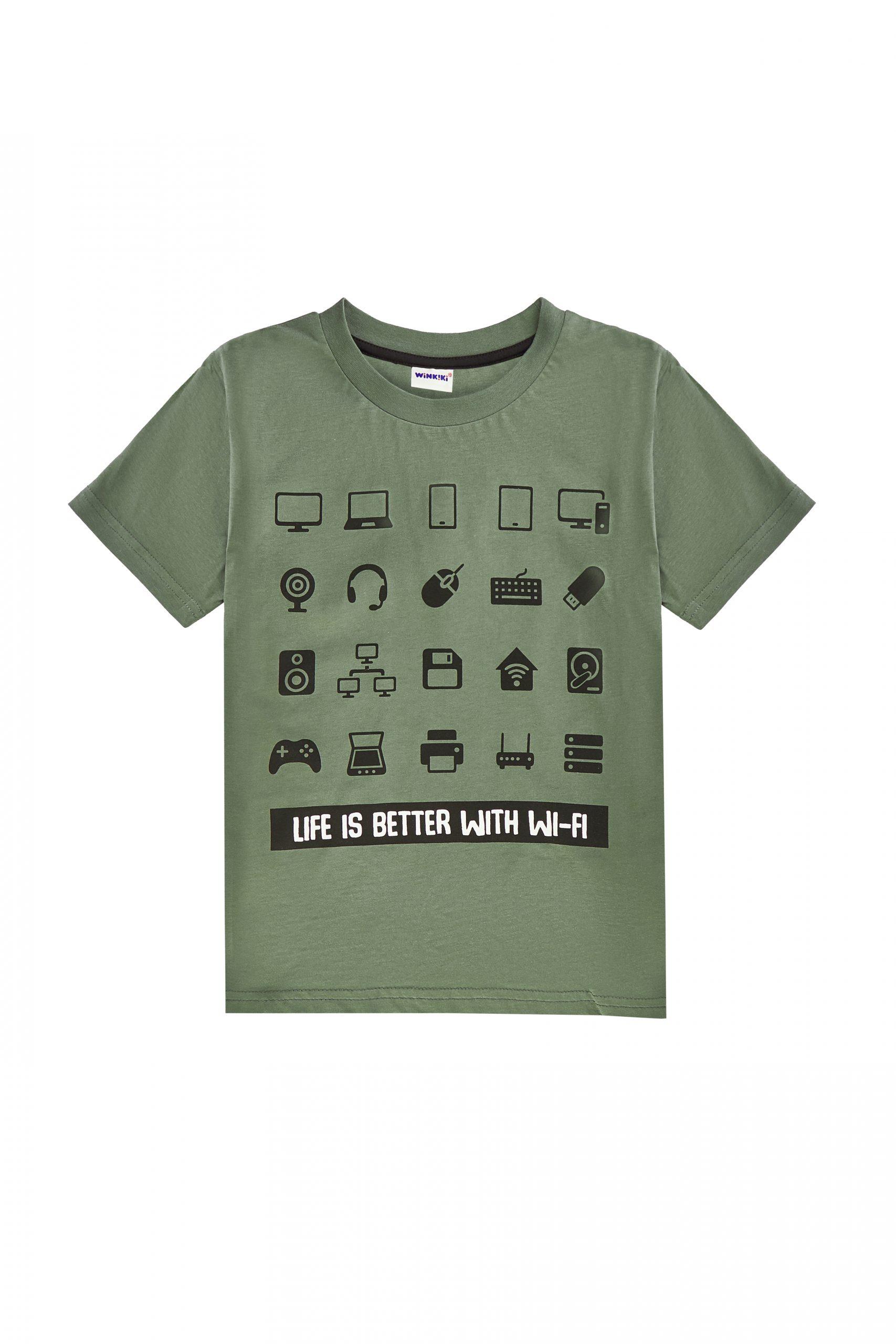 Chlapecké tričko American Gamer - khaki Černá, Khaki, Modrý melanž