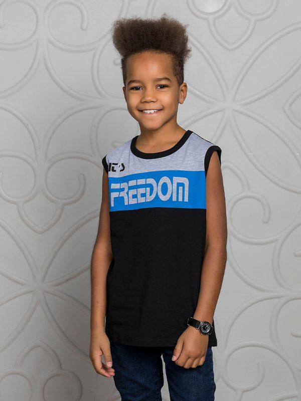 Chlapecké tričko Freedom - černá Černá, Červená/Navy