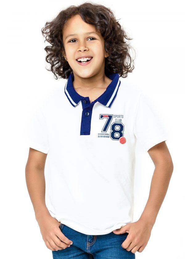 Chlapecké tričko Polo 78 - bílá Bílá, Navy, Šedý melanž