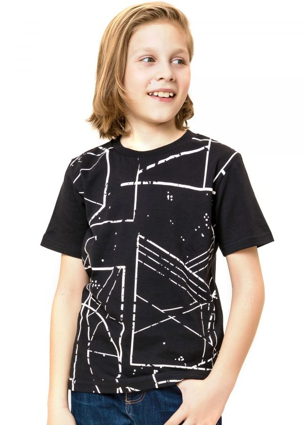 Chlapecké tričko Geometry - černá Bílá, Černá