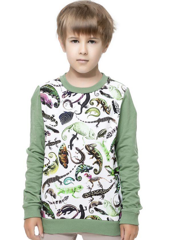 Chlapecká mikina Reptiles Zelená