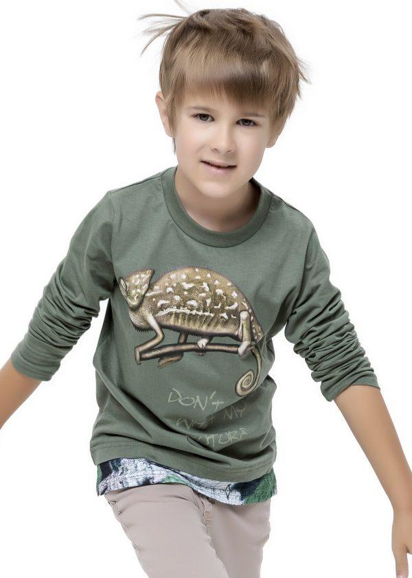 Chlapecké tričko Chameleon - dlouhý rukáv Khaki, Zelená