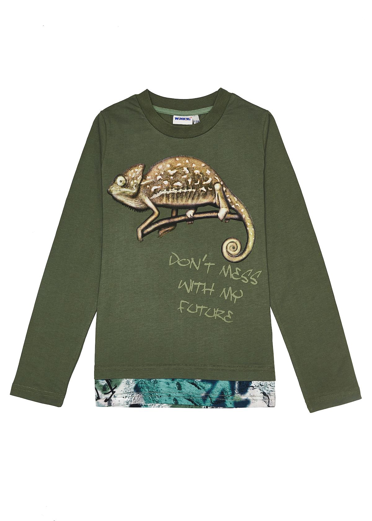 Chlapecké tričko Chameleon - dlouhý rukáv - zelená Khaki, Zelená
