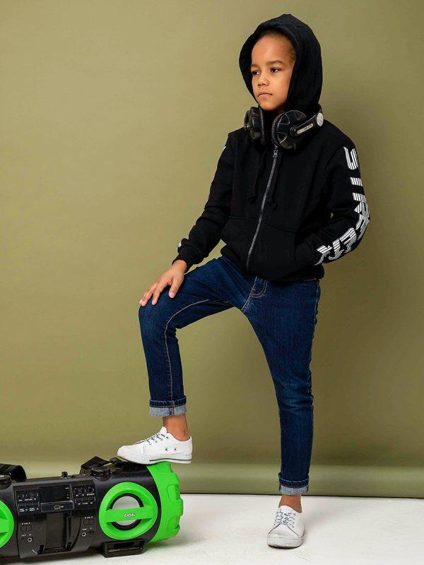 Chlapecká mikina StreetX s kapucí na zip - černá Černá