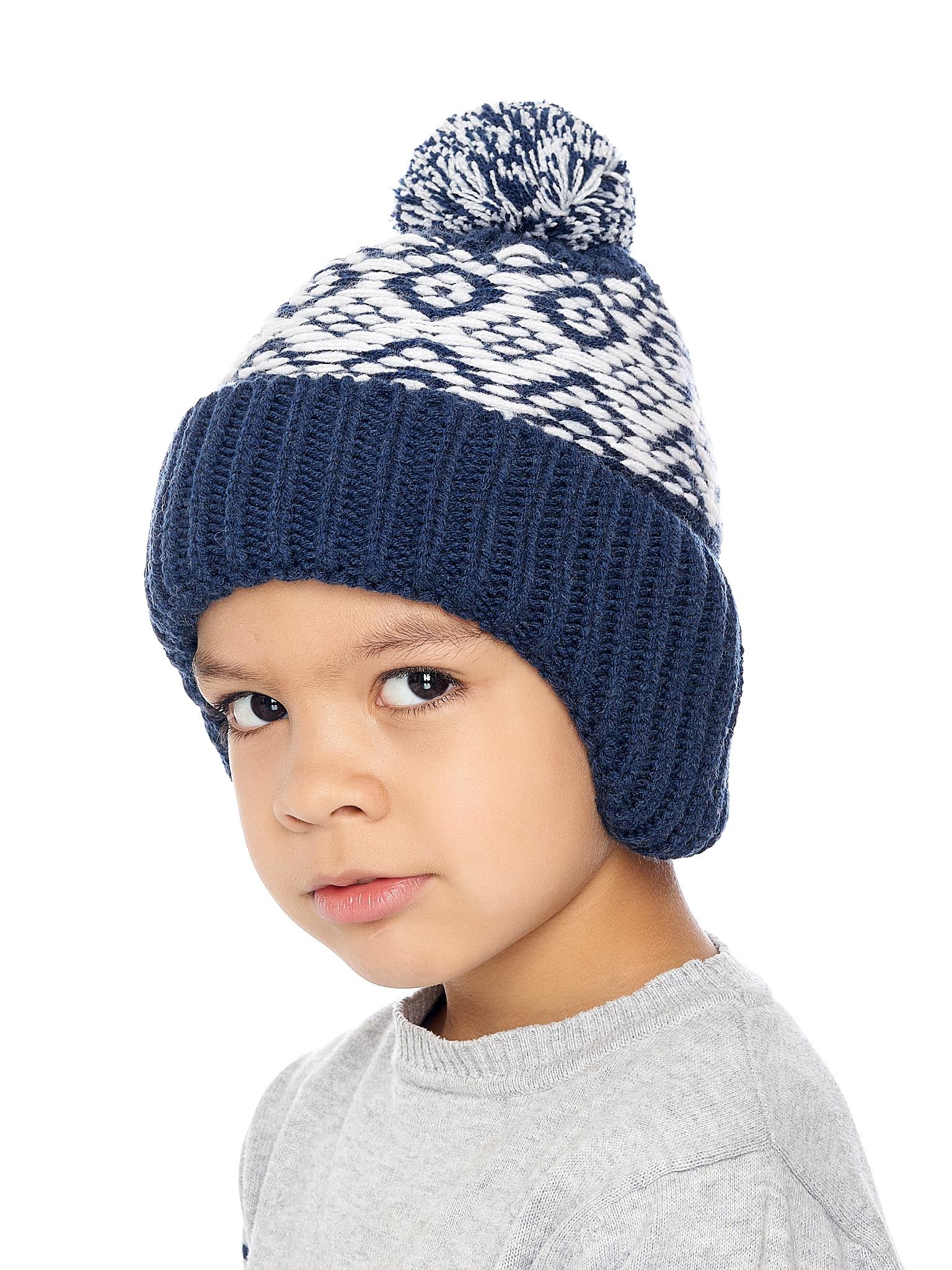 Chlapecká pletená čepice Ušanka NAVY Navy/Bílá